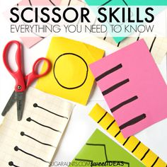 Scissor skills activities for kids. These are developmental ways to practice scissor skills and teaching kids to cut on the lines. Also, all of the skill areas needed in order for kids to accurately cut lines and shapes. Cutting Activities, Motor Skills Activities, Toddler Learning Activities, Toddler Preschool, Fine Motor Skills, Preschool Activities, Teaching Kids, Kids Learning, Learning Shapes