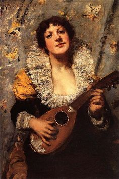 William Merritt Chase The Mandolin Player - Handmade Oil Painting Reproduction on Canvas American Impressionism, Most Famous Paintings, Canvas Online, Mary Cassatt, Indie Art, Edouard Manet, Edgar Degas, Camille Pissarro, Paul Cezanne