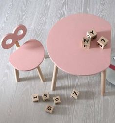 Our ooh noo Half Moon Table & Double-O Chair in sweet pink is the must have for your playroom. Kids Play Table, Kids Table And Chairs, Table And Chair Sets, Baby Table, Pink Table, Half Moon Table, Single Chair, Writing Table, Non Toxic Paint