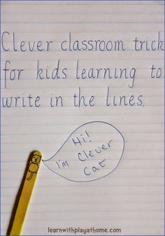 Clever classroom trick for kids learning to write in the lines. Learn with Play at Home: Clever classroom trick for kids learning to write in the lines. 1st Grade Writing, Kindergarten Writing, Teaching Writing, Writing Skills, Teaching Resources, Writing Process, Writing Workshop, Primary Teaching, Reading Skills