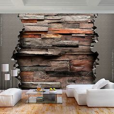 Wood Wall Decor, Wooden Wall Art, Wooden Walls, Interior Walls, Interior Design, Stone Wall Design, Estilo Interior, 3d Wall Murals, Home Ceiling
