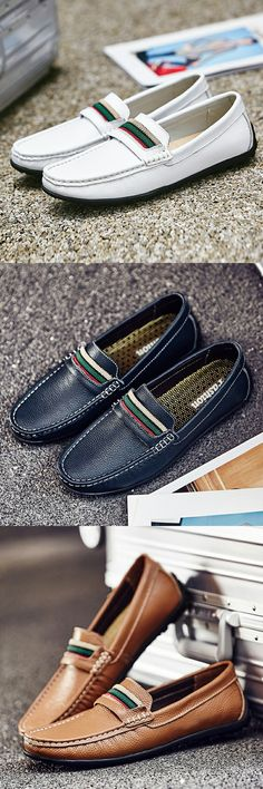 US $29.05 <Click to buy> Prelesty Luxury Brand Plus Size Cow Leather Casual Men Loafer Moccasins Flats Mens Driving Shoes British Style Handmade