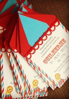 Convite personalizado com tema de circo - www.clakeka.blogspot.com