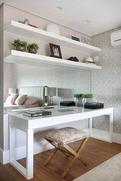 Ideas home office quarto casal pequeno for 2019 Home Office Design, Home Office Decor, Home Interior Design, Design Offices, Bedroom Desk, Mirror Bedroom, Dream Rooms, House Rooms, Room Decor