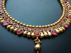 Ruby studded mango necklace with gold beads India Jewelry, Emerald Jewelry, Temple Jewellery, Gold Jewelry, Jewelry Box, Mango Necklace, Ruby Necklace, Jewelry Patterns, Antique Jewelry
