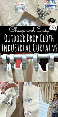 Outdoor DIY Curtains are all the rage! These cheap and easy no sew drop cloth curtains with an industrial look make… Outdoor DIY Curtains are all the rage! These cheap and easy no sew drop cloth curtains with an industrial look make…