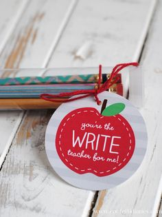 Washi Tape Pencils and Free Printable Apple Gift Tags from Katarina's Paperie