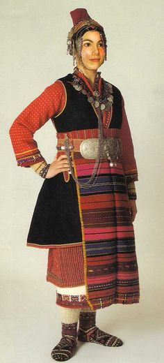 Traditional festive costume from Serres (Greek Macedonia). Clothing style: rural, ca. Greek Traditional Dress, Traditional Outfits, Greece Costume, International Clothing, Greek Culture, Greek Clothing, Folk Costume, Dance Costumes, Folklore