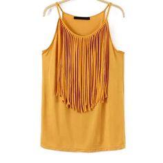 22,90EUR T-Shirt Tanktop mit Fransen gelb