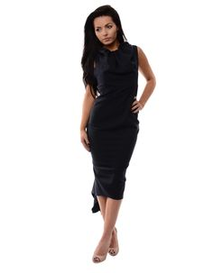 The Sian drape dress available here in navy with a black and pink back zip fastening has a fishtail meaning that is longer at the back than it is at the front. Draped Dress, Fishtail, Leeds, Dresses For Work, Navy, Pink, Inspiration, Clothes, Black