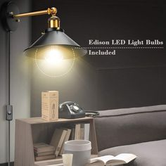 Our swing arm wall sconces include 1x high-quality 4W ST64 LED Edison bulb. Our vintage wall sconces lamp is also compatible with different types of E26/E27 base light bulb including LED, CFL bulb, and an incandescent lamp that meets energy efficiency standards. #WallSconces #WallLamp #WallLight #LivingRoom #DiningRoom #BedroomLighting #IndoorLighting #IndoorLightingIdea #WallSconcesBedroom Plug In Wall Sconce, Swing Arm Wall Sconce, Indoor Wall Sconces, Edison Led, Vintage Wall Sconces, Wall Light Fixtures, Wall Lights, Ceiling Lights, Bedroom Lighting