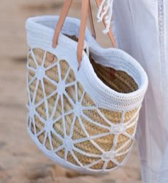 "New Cheap Bags. The location where building and construction meets style, beaded crochet is the act of using beads to decorate crocheted products. ""Crochet"" is derived fro Crochet Tote, Crochet Handbags, Crochet Purses, Bead Crochet, Pochette Diy, Diy Sac, Basket Bag, Knitted Bags, Crochet Accessories"