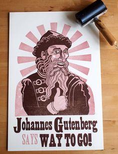 Johannes Gutenberg linocut letterpress poster by Monkey-Rope Press on Etsy
