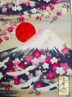 Mt. Fuji, Red-crowned cranes, cherry handkerchief