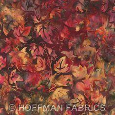 Batik Fabric Hoffman Fabrics Bali winter leaves mulberry 3693