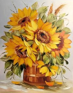 подсолнухи живопись маслом - Поиск в Google Watercolor Flowers, Watercolor Paintings, Oil Painting Flowers, Sunflower Art, Art Africain, Country Art, Arte Floral, Art Pictures, Painting Inspiration