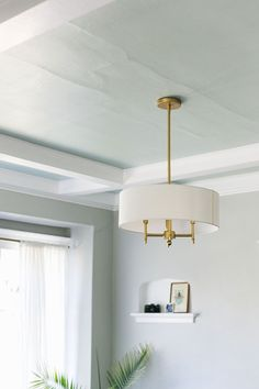 My Honest Review of Clare Paint   Our Accent Ceiling at The Craftsman House. @clare_paint A Modern Traditional Living Interior Styling, Interior Decorating, Interior Design, Chandeliers, Accent Ceiling, Living Room Update, Painting Trim, Diy Home, Chandelier