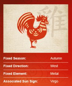 I am a rooster!!!  The Rooster is the strutting peacock of the Chinese Zodiac! These quick thinkers are practical and resourceful, preferring to stick to what is tried...