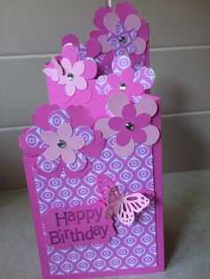 Pink Tri fold card