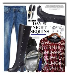 """""""Day to Night Sequins with Zaful.com"""" by hamaly ❤ liked on Polyvore featuring Max Factor, Coach, Boots, Sweater, ootd, Sequins and zaful"""