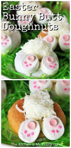 Easter Bunny Butt Doughnuts: Step-by-Step Easy No Bake Desserts, Best Dessert Recipes, Easy Desserts, Sweets Recipes, Cheesecake Recipes, Holiday Desserts, Holiday Recipes, Holiday Foods, Holiday Baking