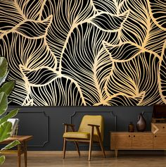 Banana leaf wallpaper peel and stick tropical wall mural leaf print jungle wallpaper temporary removable wallpaper home decor # Look Wallpaper, Peel And Stick Wallpaper, Wallpaper For Walls, Wallpaper Jungle, Accent Wallpaper, Tapete Gold, Temporary Wallpaper, Self Adhesive Wallpaper, Metallic Colors