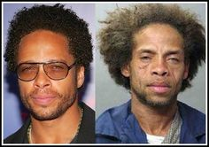 """FAKE:  This """"before and after"""" image has been circulating since at least 2007, when a man bearing a striking resemblance to Dourdan was arrested in Louisiana. When celebrity gossip site TMZ published Demitris Hirsch's mugshot alongside a picture of Gary Dourdan, they clearly stated that the man on the right was not Dourdan. Subsequent repostings of the image, however, mistakenly identified the picture on the right as an """"after"""" photograph of Dourdan."""