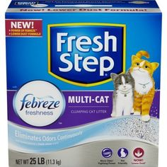 Fresh Step Multi-Cat with Febreze Freshness, Clumping Cat Litter, Scented Pounds - Pack Paw activated fragrance is released when the litter box is used Activated carbon traps and eliminates odors around the clock Tight clumping litter locks in odors Urine Odor, Clumping Cat Litter, Cat Store, Cat Health, Litter Box, Pet Supplies, Fresh