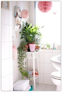 vintage girly apartment    girly handmade details simple romantic girly vintage this apartment ... What about an indoor window box in bathroom?