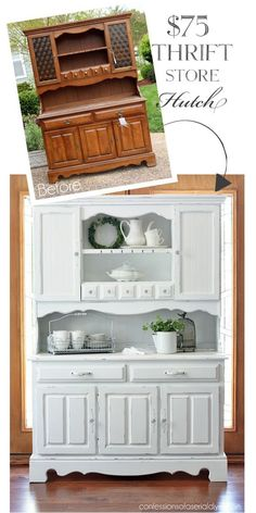 Dated Thrift Store Hutch Makeover from Confessions of a Serial Do-it-Yourselfer: