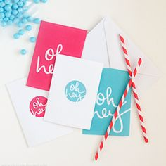 """Download these free fun note cards for a quick & easy """"Oh Hey"""" shout-out! Includes a set of 4 of fun designs."""