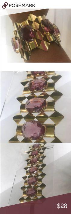 Vintage light purple glass stones wide bracelet Vintage retro fashion light purple glass stones wide cuff bracelet cuff gold tones Jewelry Bracelets