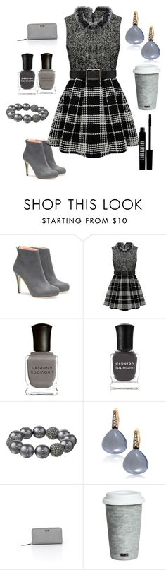 """Gray set"" by citykitty1234 ❤ liked on Polyvore featuring Deborah Lippmann, Kenneth Jay Lane, Bucherer, Kate Spade, Fitz & Floyd and Lord & Berry"
