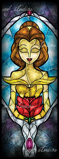 disney princess stained glass | Stained Glass Belle