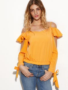 Shop Yellow Cold Shoulder Split Tie Sleeve Ruffle Top online. SheIn offers Yellow Cold Shoulder Split Tie Sleeve Ruffle Top & more to fit your fashionable needs.