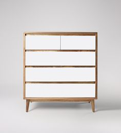 Swoon Editions Chest of drawers, mid-century style in mango wood and white - £449