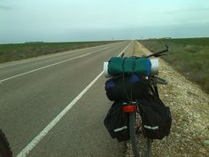 A photo of my luggage on my bike, during the Europe bike trip, traveling without money.