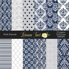 Navy Damask Background Papers