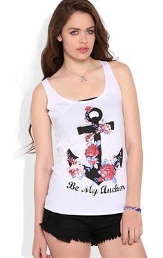 Deb Shops Racerback Tank Top with Floral Be My Anchor Screen $12.00