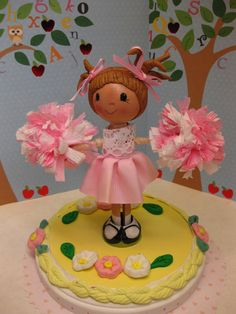 Cheerleader Clothespin Doll Cake Topper