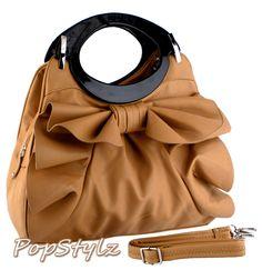 Apricot Large Bowknot Ruffle Satchel Hobo Handbag