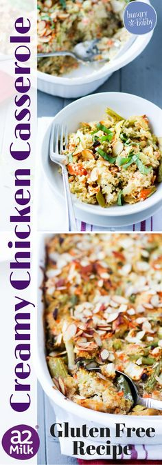 Healthy Creamy Chicken Quinoa Casserole is a hearty, comforting and filling gluten-free meal | Hungry Hobby
