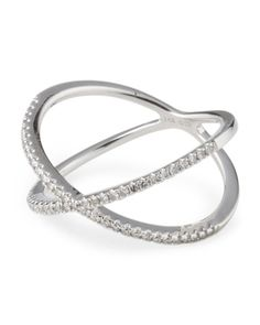 14k White Gold Diamond X Ring Rings T J Ma