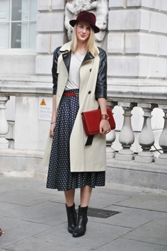 Topshop trench - mid calf polka dot scarf - such smart fall dressing!