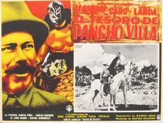 EL TESORO DE PANCHO VILLA orig. Mex. lobby MASKED WRESTLER 1957  (mx007)