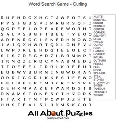 Printable Word Search Puzzles : Curling Word Search