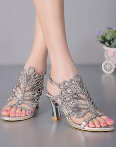 Diamond Studded Sandals Slingback Silver Chunky Heel, Silver, G·Sharrow | VIPme