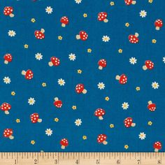 Mushroom World Little Mushrooms & Flowers Blue from @fabricdotcom  This cotton print fabric is perfect for quilting, apparel and home decor accents. Colors include red, blue, yellow, and white.