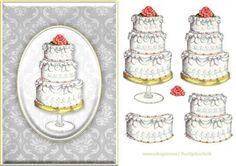 Wedding Cake Quick Card on Craftsuprint designed by Russ Smith - A5 card front and decoupage layers using a painting of a layered decoupage cake on a damask background, with a red rose on top. - Now available for download!
