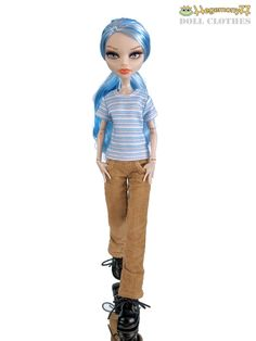 Monster High doll in brown corduroy velvet pants and blue white striped T shirt | Flickr - Photo Sharing!